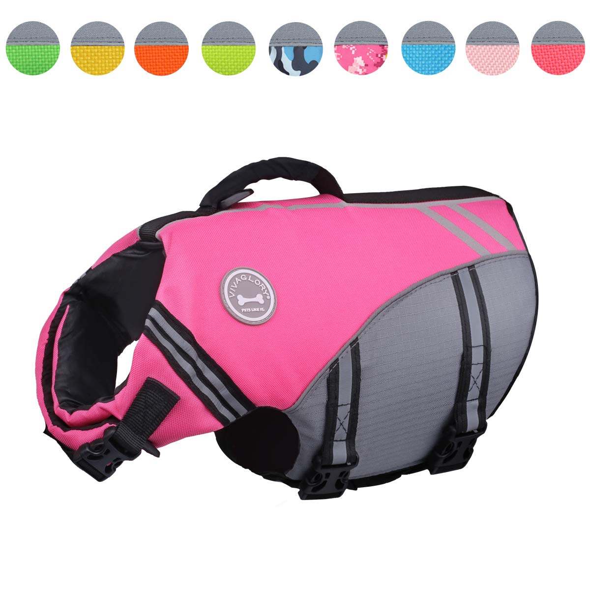 Vivaglory New Sports Style Ripstop Dog Life Jacket with Superior Buoyancy & Rescue Handle, Pink, L by Vivaglory