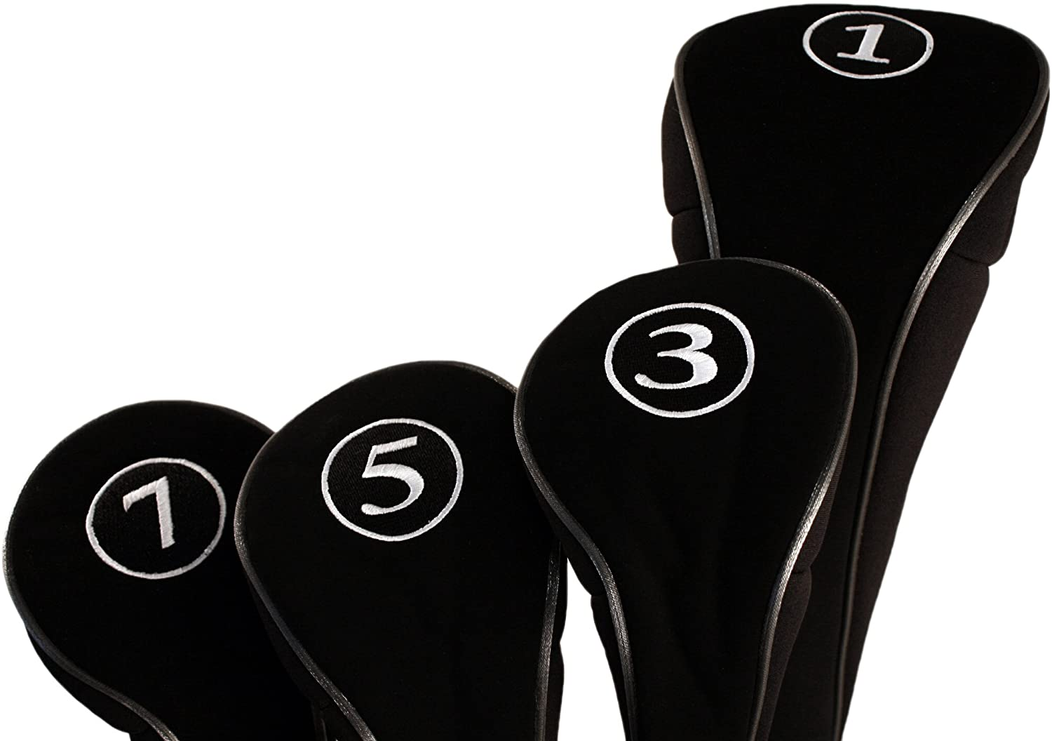 Black Golf Zipper Head Covers Driver 1 3 5 7 Fairway Woods Headcovers Metal Neoprene Traditional Plain Protective Covers Fits All Fairway Clubs and Drivers up to 460cc for Golfing Buddies