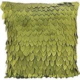 1x leaf-pattern satén funda de almohada para sofá cojín coche/cama funda de almohada 43x 43cm --- Verde oliva, raso, Verde, cuadrado