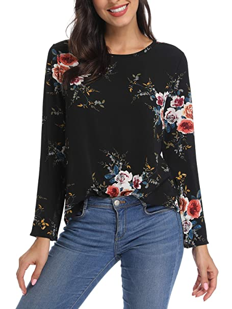 79f204d0a6 kigod Women's Casual Round Neck Floral Print T-Shirt Top Chiffon Long Sleeve  Tops Blouse