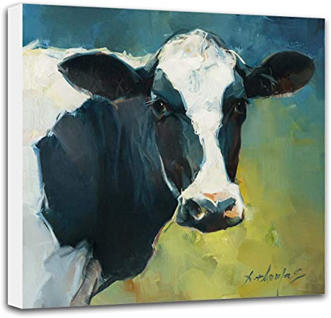 Amazon Com Cow Pictures Wall Decor Canvas 12x12 Inch Cow Original Painting Print Wall Decor Gifts For Kitchen Living Room Gallery Wrapped Stretched Posters Prints