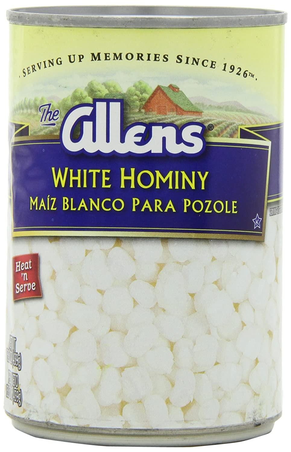Amazon.com : Allens White Hominy, 15.5000-Ounce (Pack of 12) : Canned And Jarred Corn : Grocery & Gourmet Food