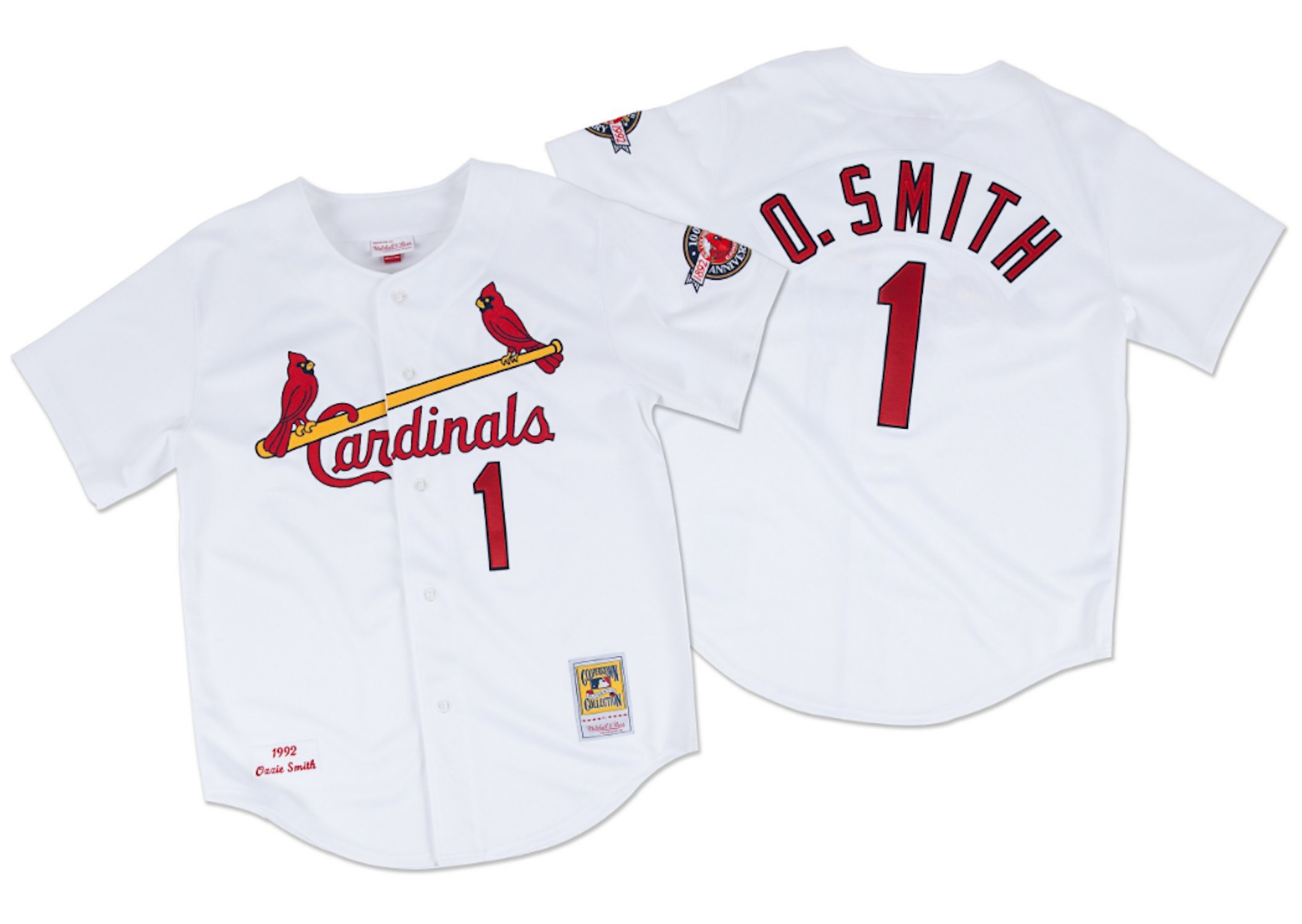 Mitchell & Ness Ozzie Smith 1992 Authentic Jersey St. Louis Cardinals In White 3XL