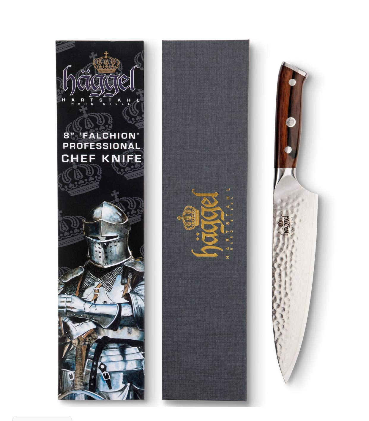 8' Professional Chef Knife Damascus Steel - VG10 Grade - Best Value Ultra Sharp Kitchen Knife - Hand Hammered Stainless Steel blade - Balanced Full Tang Rosewood Handle by Haggel
