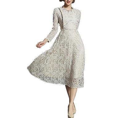 Trendy Nicer Women Long Sleeve Lace Patchwork Long Dress Women