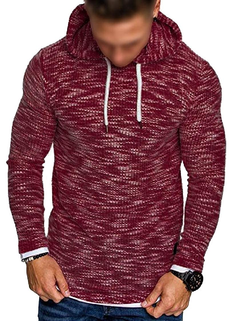 Lutratocro Mens Hooded Casual Pullover Sport Knit Pure Color Sweatshirt