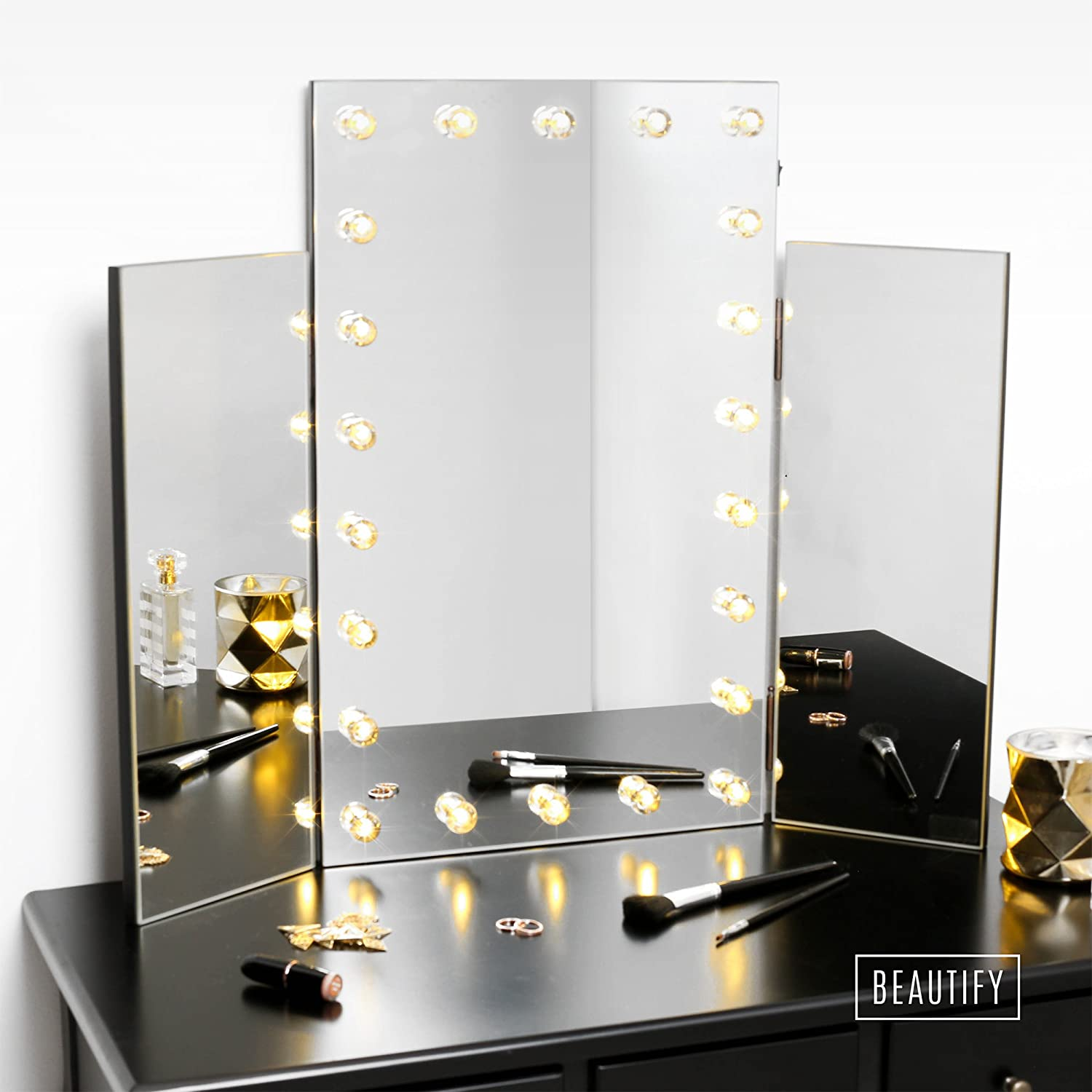 Amazon.com: Beautify Trifold Hollywood Lighted Dressing Table Vanity Mirror:  Home U0026 Kitchen