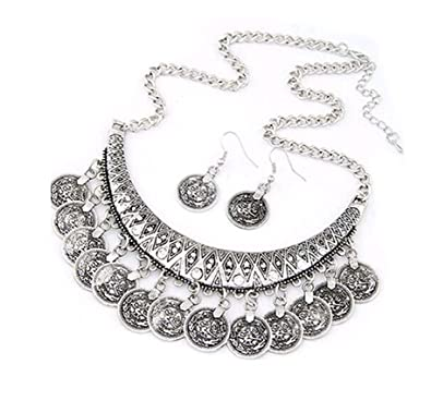b147278daaa7c Bold N Elegant Antique Vintage Bohemia Gypsy Silver Coin Pendant Stylish  Necklace Set with Earrings for Women and Girls