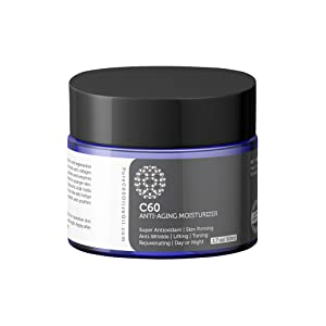 Carbon 60 Anti-Aging Moisturizer Face Cream 50ml with Hyaluronic Acid, Vitamins B + C + E & CoQ 10 for Men & Women Made with Organic Ingredients