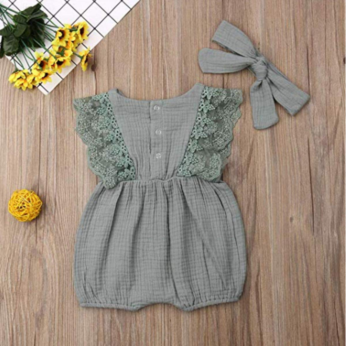 Baby Girls Ruffled Lace Romper Sleeveless Bodysuit Cotton Linen Jumpsuit Clothes with Headband