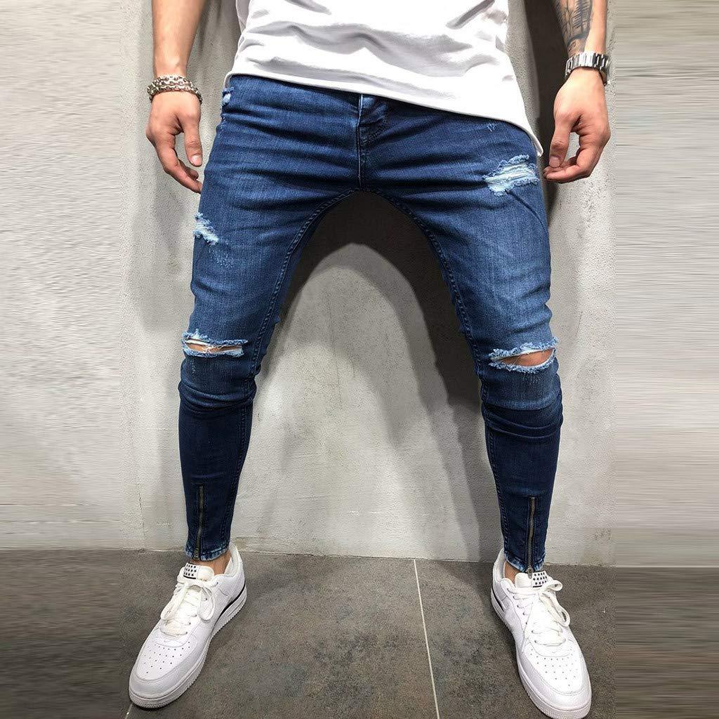 Pantalones Vaqueros para Hombre,Casuales Moda Pantalones Vaqueros Rotos Hombre Jeans Trend Largo Pantalones Pants Skinny Pantalon Ropa Fitness Hombre Jeans Largos Pantalones vpass