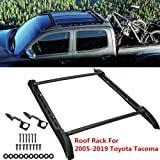 ROSY PIXEL Roof Rack Set (2Pcs Cross Bars& 2Pcs Side Rails) 2005-2020 for Toyota Tacoma Double Cab Black