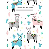 Composition Notebook: Adorable Llama and Cactus Wide Ruled Composition Book