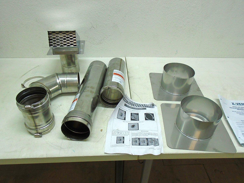 Z-Flex 2ZVW04 4'' Horizontal Stainless Steel Z-Vent Water Heater Vent Kit