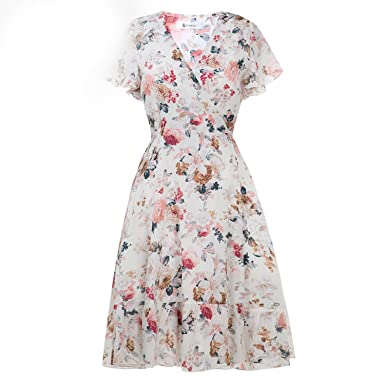 d6df83cab7 Small-shop Floral Summer Dress Women Print Lace-up Wrap Ruffles Tunic  Chiffon Dresses