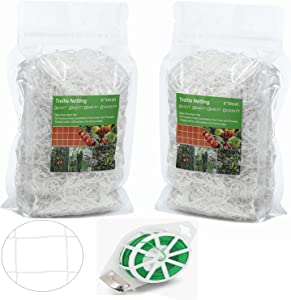 Trellis Netting 2 Pack Garden Plant Net Mesh 6'' for Climbing Plants Support Poles Heavy-Duty Polyester Flexible String Vines Vegetables to Grow/with Garden Twine Twist Tie (5 ft X 15 ft)
