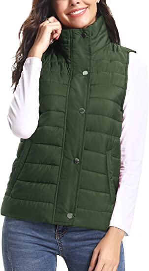 Womens Packable Lightweight Down Vest Winter Down Waistcoat Black, Large