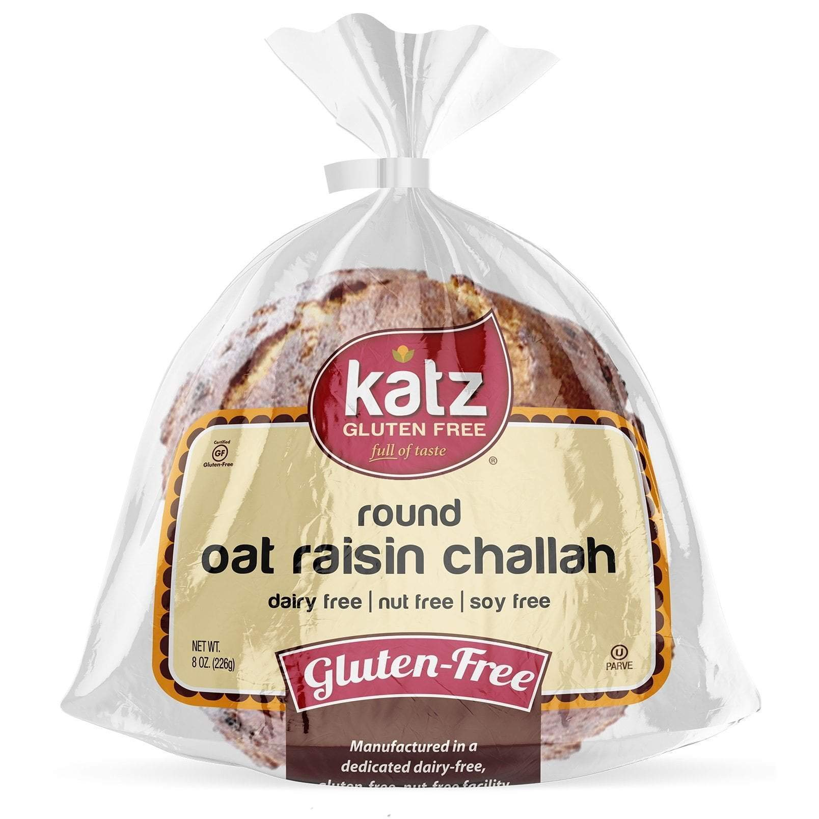 Katz Gluten Free Round Oat Raisin Challah | Dairy, Nut, Soy and Gluten Free | Kosher (6 Packs of 1 Challah, 8 Ounce Each) by Katz Gluten Free