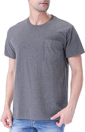 COSAVOROCK Hombres de Manga Corta Grueso de Algodón Camiseta de ...