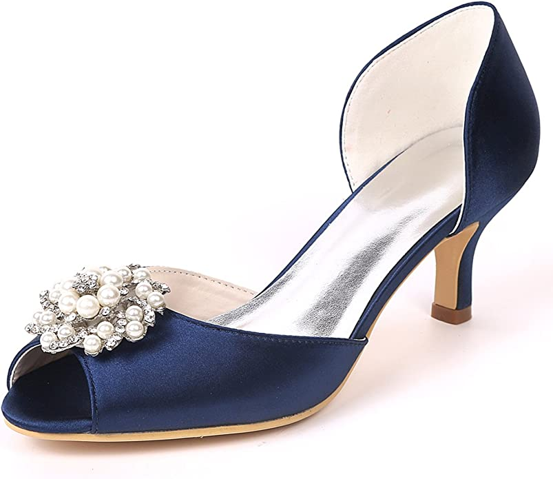 Elobaby Femmes Chaussures Soirée Mariage Satin Strass comme
