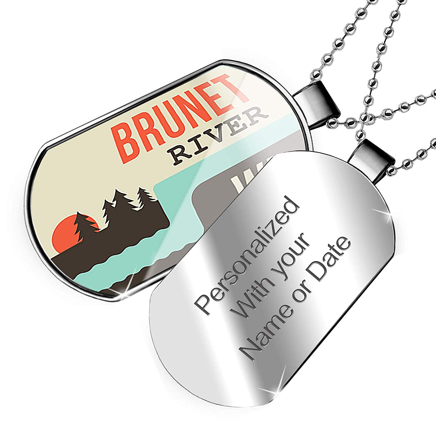 Wisconsin Dogtag Necklace NEONBLOND Personalized Name Engraved USA Rivers Brunet River