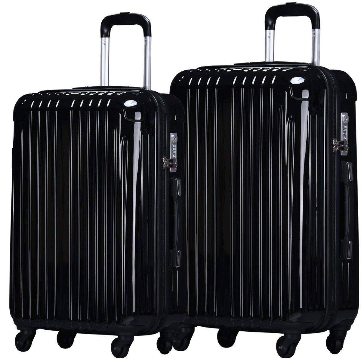 【ラッキーパンダ】luckypanda TY001 スーツケース 2個set キャリーバッグ ファスナータイプ 【2年保証】 軽量 中型 大型 TSAロック M L 2点セット キャリーケース 鏡面 光沢  ブラック B07FHLZLVG