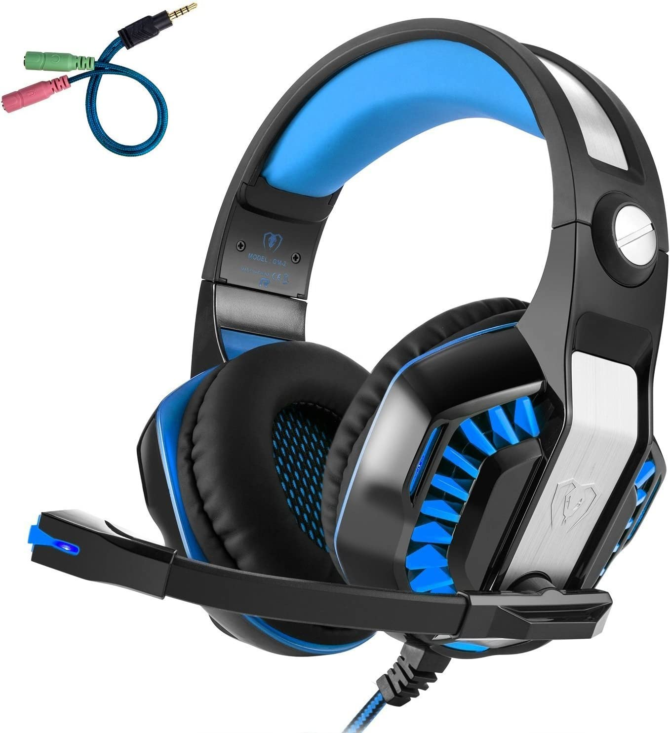 Beexcellent GM-2 Pro Gaming Over-Ear Headset with Mic, LED Lights and Volume Control Stereo Bass, Noise Cancelling, 3.5mm, for PS4 Xbox One, Laptop, PC, Tablet, Most Smartphones Blue