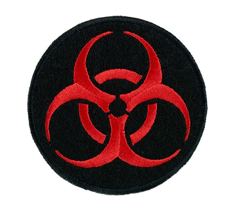 Lethal Red Biohazard Sign Patch Iron on Applique Horror Clothing Zombie Apocalypse