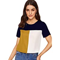 Milumia Women's Casual Color Block Short Sleeve Top Keyhole Back Round Neck Blouse