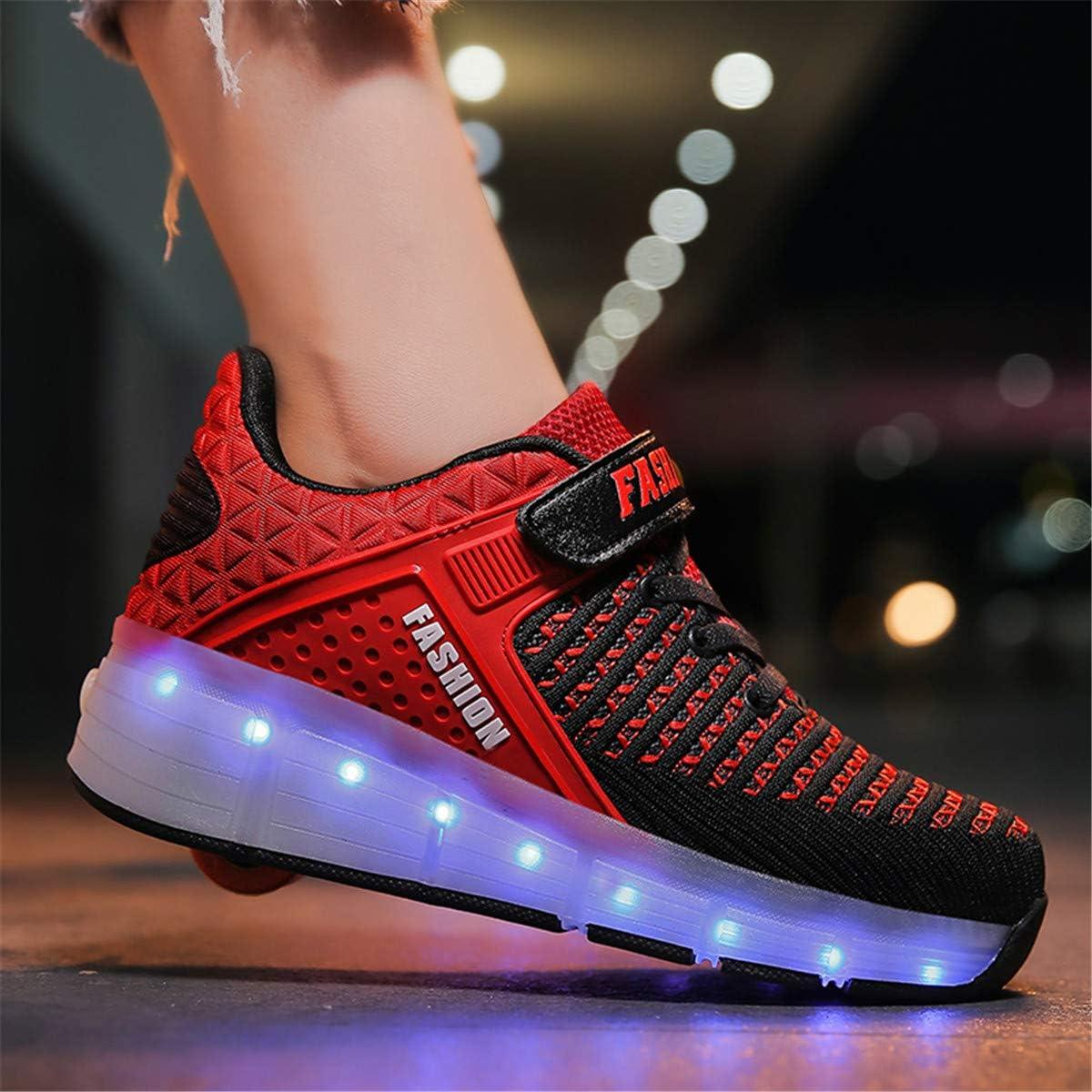 ❤❤❤ Unisex Recargable Led Luz Autom/ática de Skate Zapatillas con Ruedas Zapatos Patines Deportes Zapatos para Ni/ños Ni/ñas ❤❤❤
