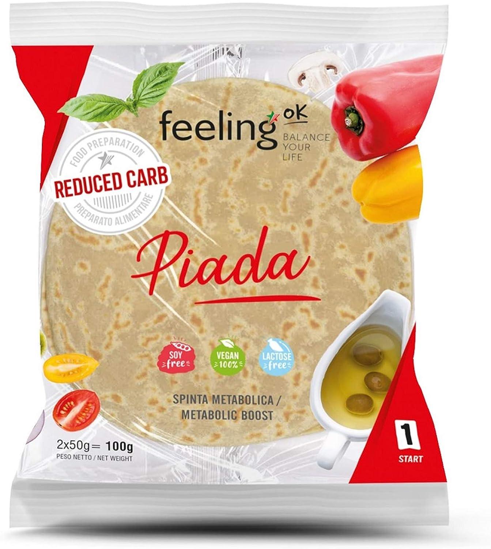 Feeling Ok Piadina alta en proteínas y fibra. Paquete de 8 envolturas de 50gr cada una (400gr): Amazon.es: Alimentación y bebidas