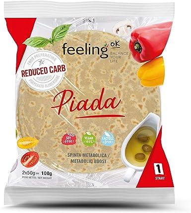 Feeling Ok Piadina alta en proteínas y fibra. Paquete de 8 envolturas de 50gr cada una (400gr)