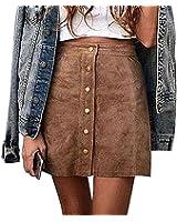 Tomblin Womens High Waist Suede Button Closure Plain A-Line Mini Short Skirt