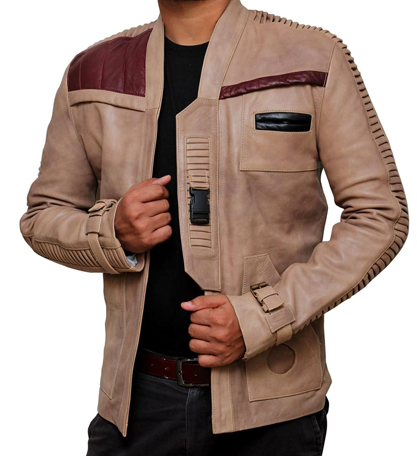 Leather jacket repair vancouver - Star Wars Poe Dameron Finn Jacket Real Leather At Amazon Men S Clothing Store