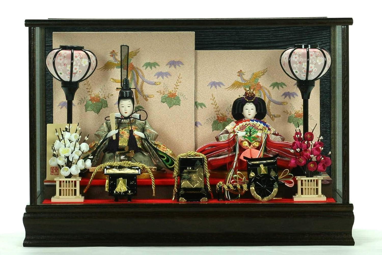 ひな人形ガラスケース入り親王飾り芥子玉 202230-1W 金彩   B07LF2MV3Q