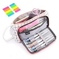 Pencil Case, Yloves Big Capacity Pen Pencil Bag Pouch Box Organizer Holder with 2 PCS Index Tabs for School Office (White Plaid)