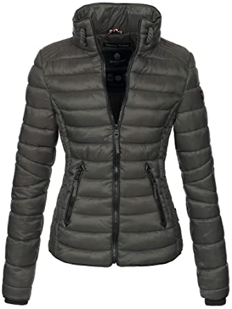 574c5bfcb57f Marikoo Damen Jacke Steppjacke Übergangsjacke gesteppt mit Kordeln Frühjahr  Camouflage B405 (XS, Anthrazit)