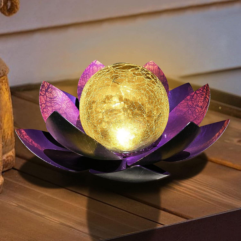 Lotus Solar Light Outdoor,Solar LED Powered Garden Lantern Waterproof for Decor Tabletop Ground Yard Patio Walkway Landscape,Metal Glass LED Lotus Flower Lights (Purple)