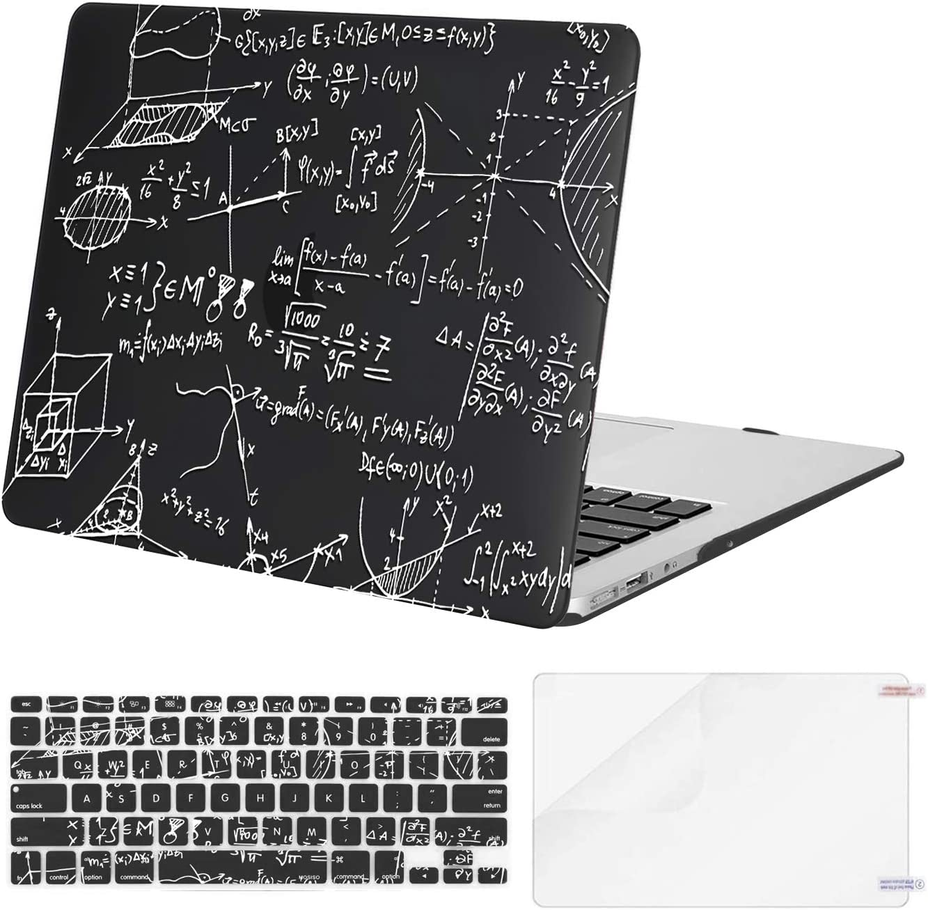 MOSISO Compatible with MacBook Air 13 inch Case (Models: A1369 & A1466, Older Version 2010-2017 Release), Plastic Coordinates Hard Shell Case & Keyboard Cover & Screen Protector, Black
