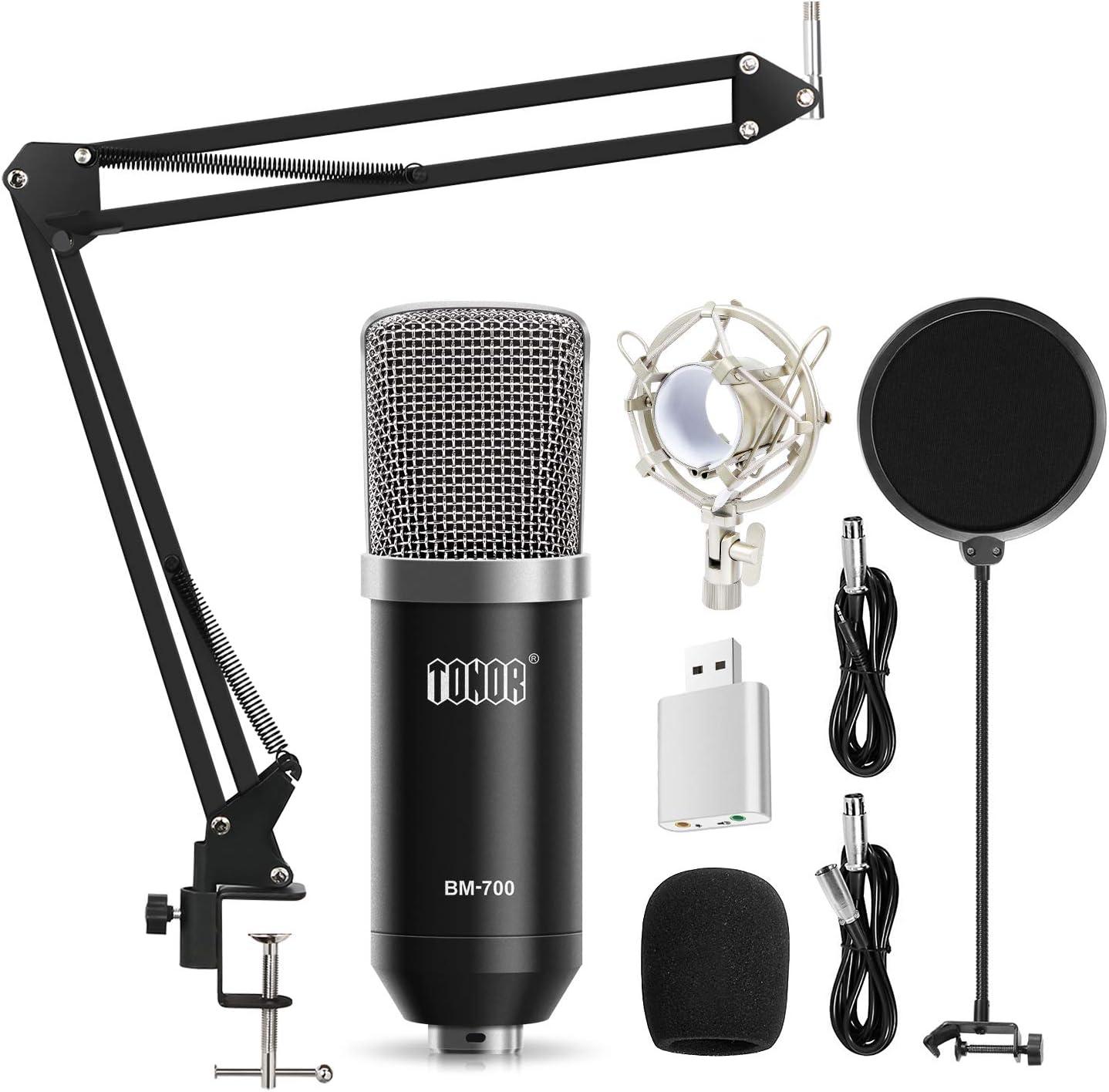 Tonor Micrófono Condensador de Grabación XLR 3.5mm para PC Podcast Estudio con Soporte de Micrófono Ajustable Suspensión, Montura de Choque de Metal y Filtro Anti-Pop Negro