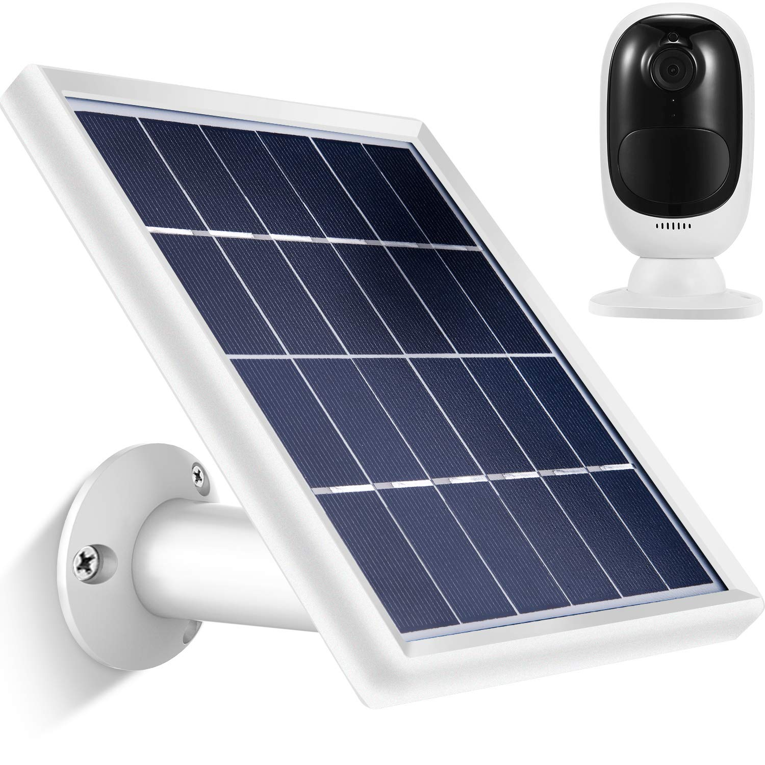 Solar Panel compatible with Reolink Go, Reolink Argus 2, Reolink Argus Pro (Camera not included), Weather Resistant, 5 m/ 16.4 ft Power Cable and 360 Degree Mount Bracket, 5 V/ 3.5 W (Max) (Black) Bememo
