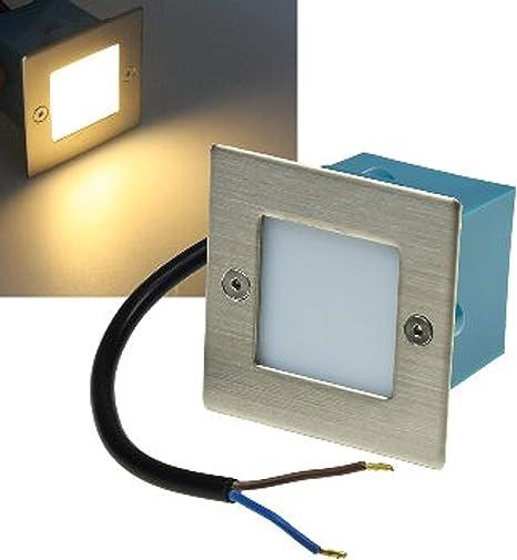 Luz montada de pared LED Acero inoxidable cuadrada blanco caliente 230V 1,5W IP54 luz de escaleras etc: Amazon.es: Iluminación