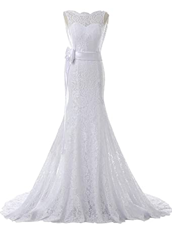 f04fca6cb349f SOLOVEDRESS Women's Cap Sleeves Lace Wedding Dress Mermaid Bridal Evening  Prom Gown (US 2,
