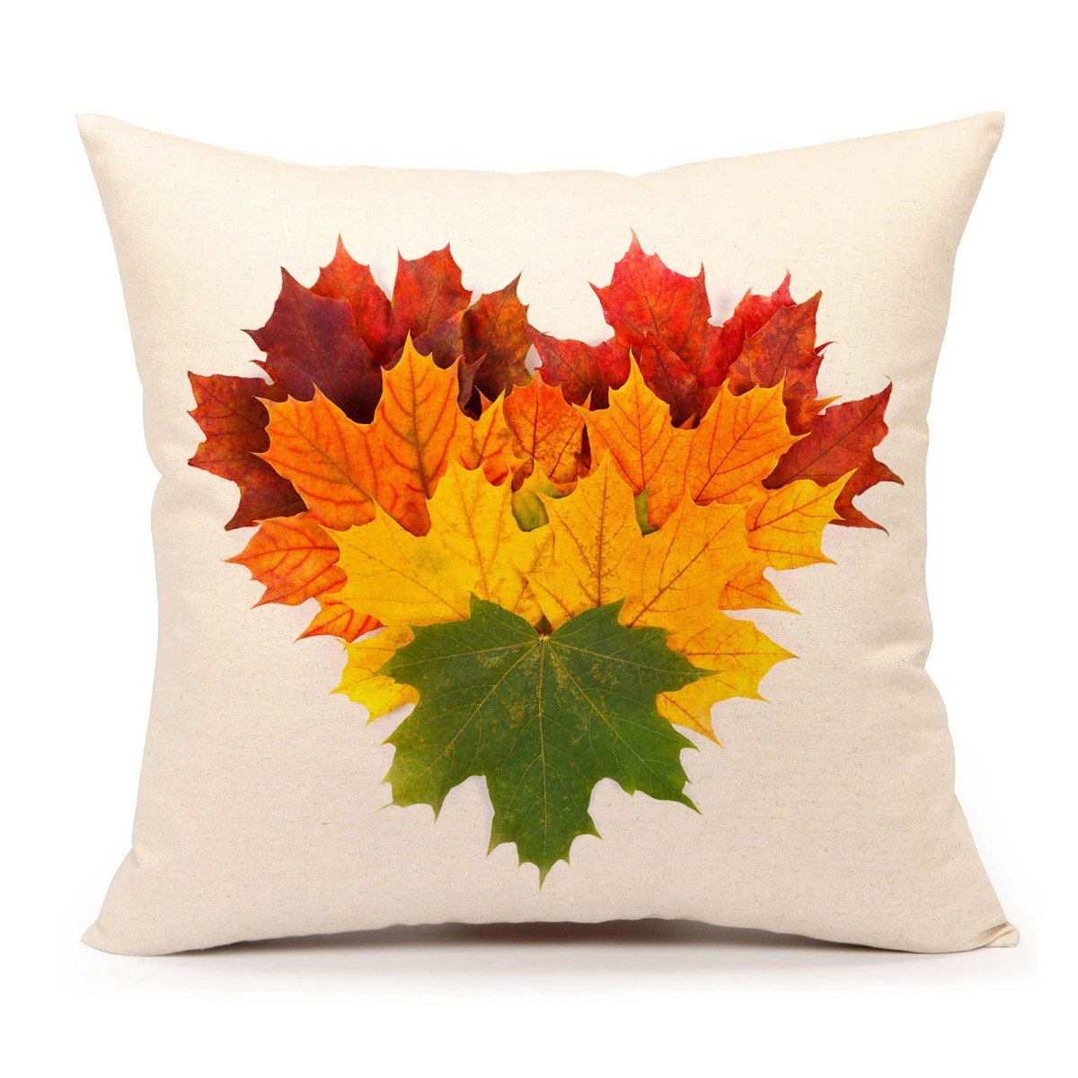 4TH Emotion Autumn Leaves Fall Thanksgiving Home Decor Throw Pillow Cover Cushion Case 18 x 18 Inch Cotton Linen for Sofa Yellow Green COMIN18JU065199