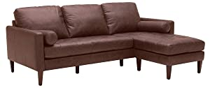 "Rivet Aiden Mid-Century Leather Sectional with Tapered Wood Legs, 86""W, Dark Brown"
