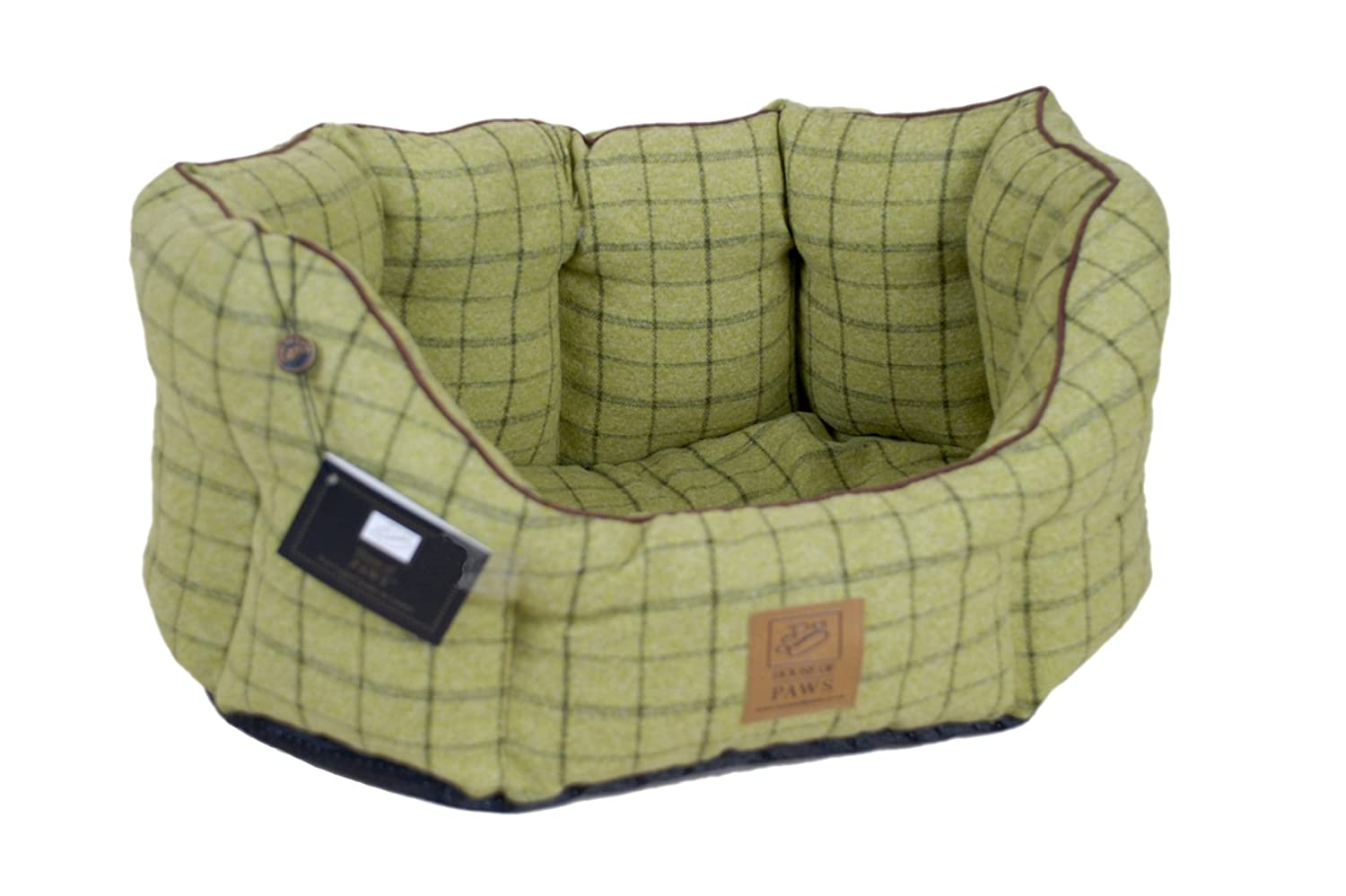 Extra X Large House of Paws Green Tweed Oval Dog Bed, 22inch
