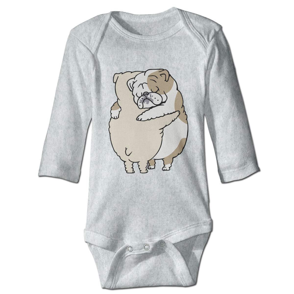 XHX Infant English Bulldog Hugs Long Sleeve Romper Onesie Bodysuit Jumpsuit