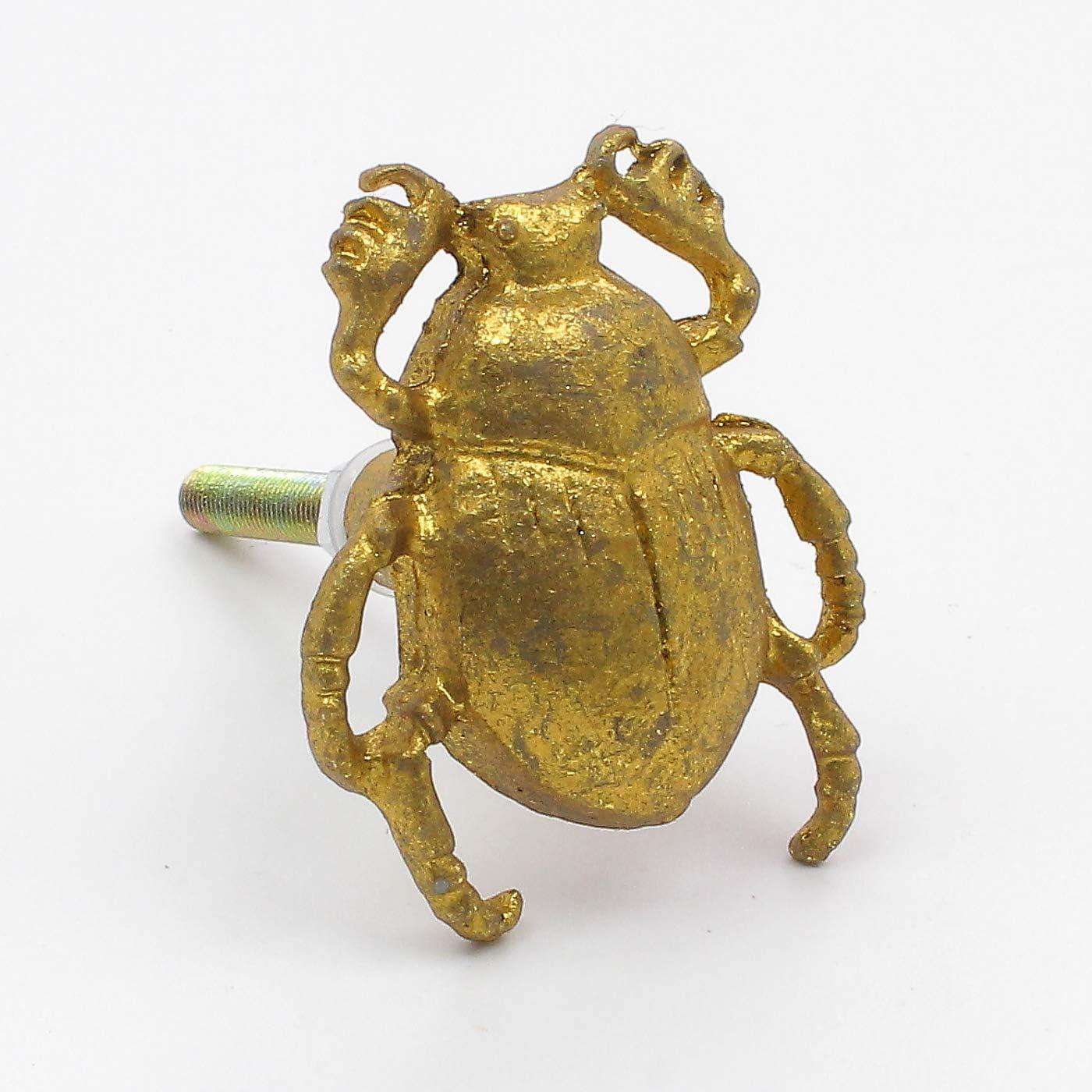 Perillas cajones 3.1 longitud de la varilla manijas para puertas armario Metal De Oro Del Oro Del Escarabajo Del Escarabajo Pomos muebles y cocinas 3.5 cm de di/ámetro