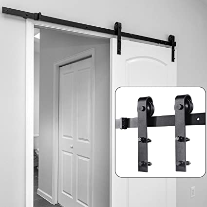 Sliding Barn Door Hardware Kit Ohuhu 5ft Barn Door Hardware Kit Barn Doors Track Heavy Duty Sturdy With Online Install Video Tutorial Easy To