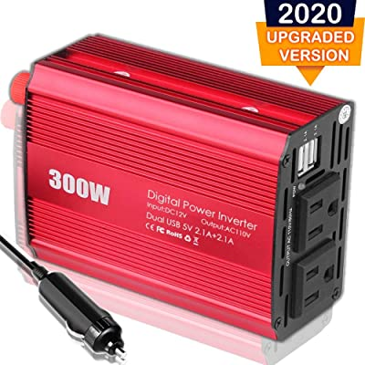 CARBONLAND Power-Inverter 300W DC 12V to 110V AC Car Adapter with Dual USB 4.2A Converter: Automotive